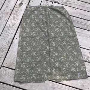 Eddie Bauer Floral Print Linen/Cotton Jeans Skirt